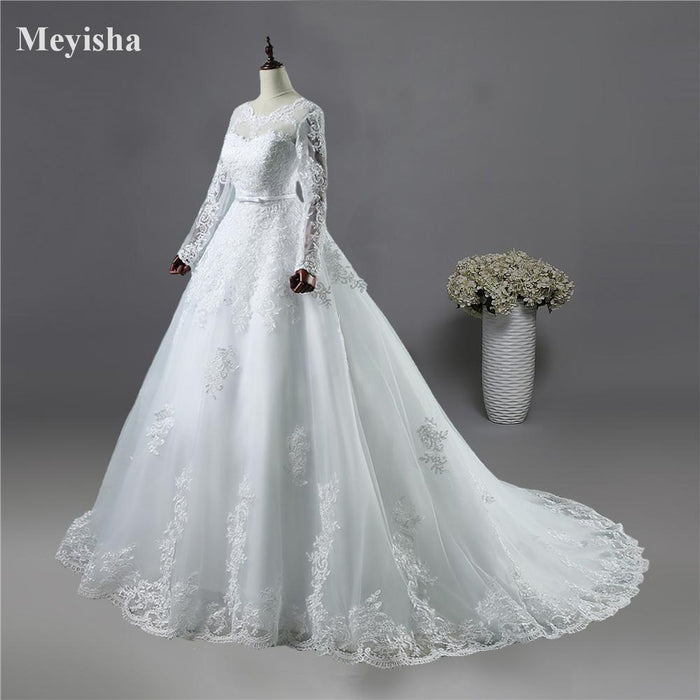 Zj9065 Corset Lace Up White Wedding Dresses With Lace Edge Big Train Long Sleeves For Brides