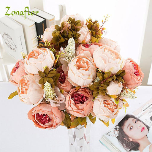 Zonaflor 13 Heads Silk Peony Flower Artificial Flowers Imitation European Peony Fake Wedding Bride-Festive & Party Supplies-Rock Decoration shop-coffee-EpicWorldStore.com