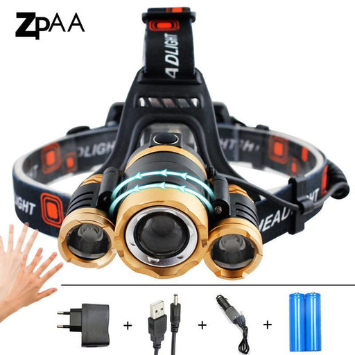 Zpaa Led Headlamp 13000Lm Xm-T6 Led Head Flashlight Torch Sensor Outdoor Rechargeable Head Light-Portable Lighting-ZPAA Official Store-Package A-Gold-EpicWorldStore.com