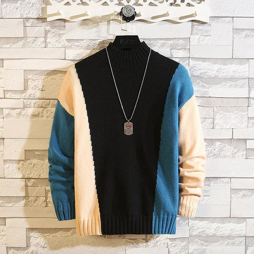 Zusigel New O Neck Contrast Color Pullover Mens Sweaters For Hip Hop Knitted Half Turtleneck-Pullovers-ZUSIGEL Official Store-CP01-M-EpicWorldStore.com