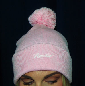 Knit Pom-Pom Beanie with Cuff - ES Embroidery
