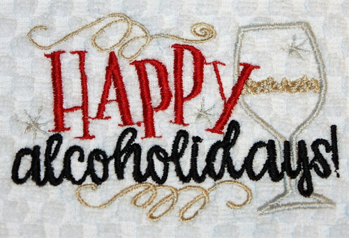 Happy Alcoholidays Kitchen Towel