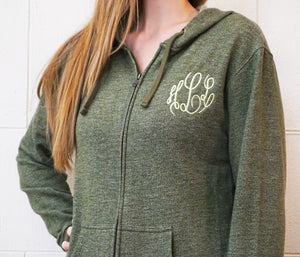 Women's Denim Fleece Full-Zip Hoody - ES Embroidery