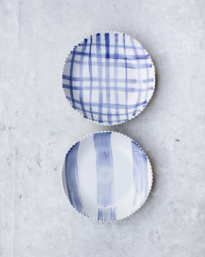 Scallop rim blue and white large bowls by clay beehive ceramics