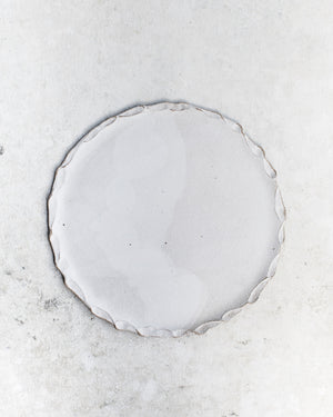 Large matte white stoneware platter/plate handmade with organic formed rim by clay beehive ceramics