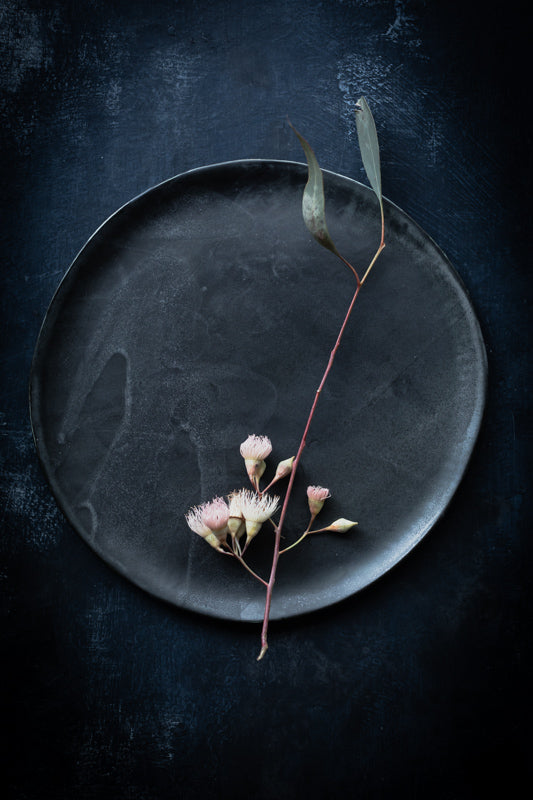 charcoal satin black plate by clay beehive
