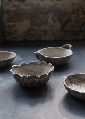 rustic gritty bowl with detailed edge by clay beehive