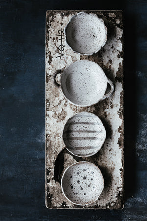 rustic gritty bowls with detailed edge by clay beehive