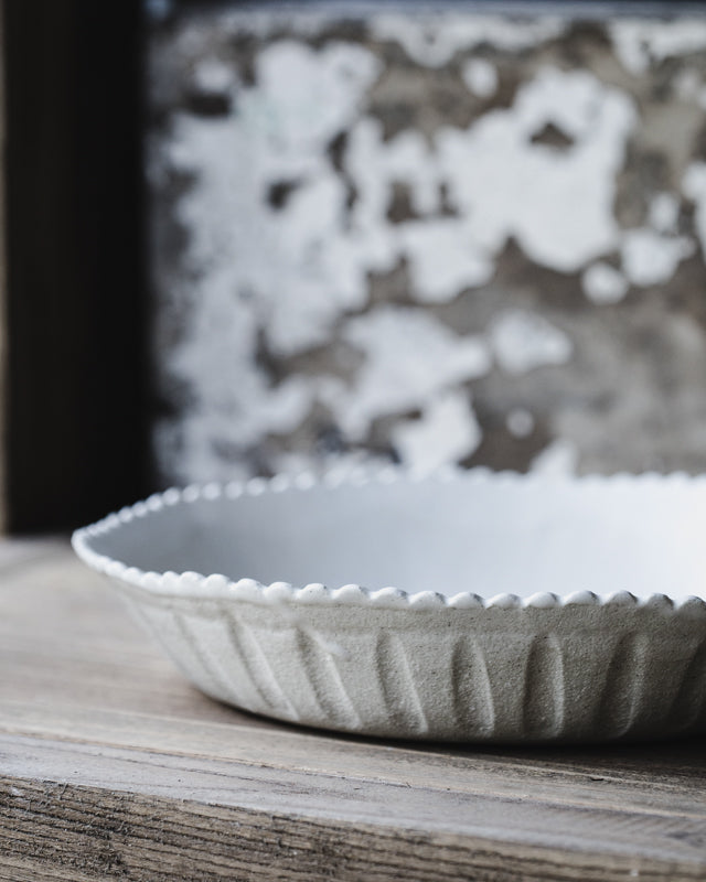 scallop rim hand made satin white farmhouse large bowl by clay beehive ceramics