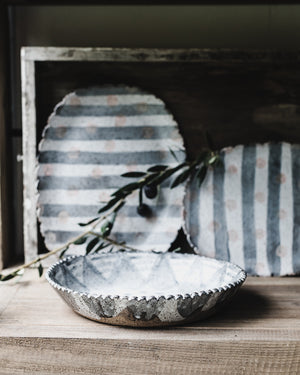 Rustic large scallop rim hand made bowls with mottled grey satin finish by clay beehive ceramics
