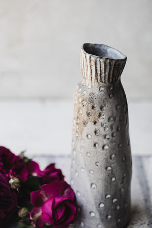 ceramic handmade rustic carved grey vase by clay beehive ceramics
