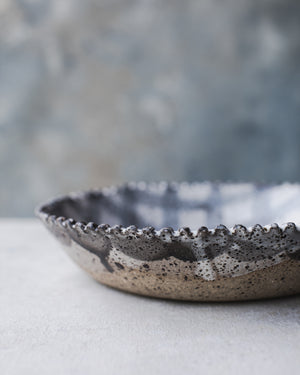 Scallop rim rustic speckled bowls hand made by clay beehive ceramics