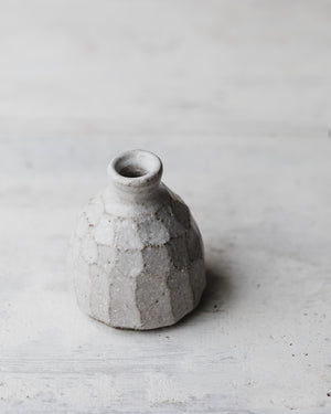 rustic wheel thrown bud vases with faceting in satin white by clay beehive ceramics