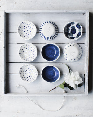 handmade salt dish/bowl blue and white with scallop rims by clay beehive ceramics