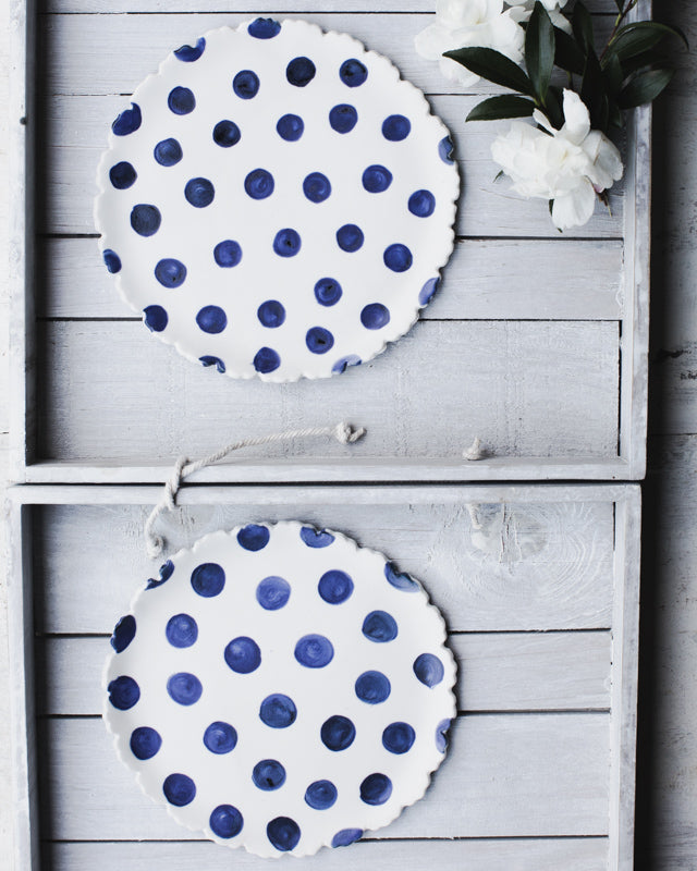 Navy Blue Polka Dot plates with scalloped rims 17cm