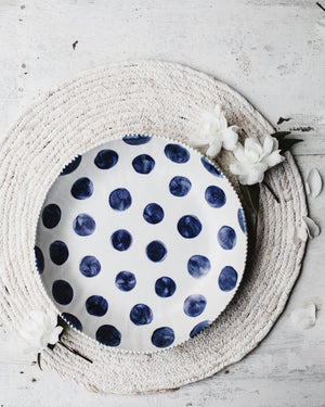 Navy Blue Polka Dot low and wide bowls