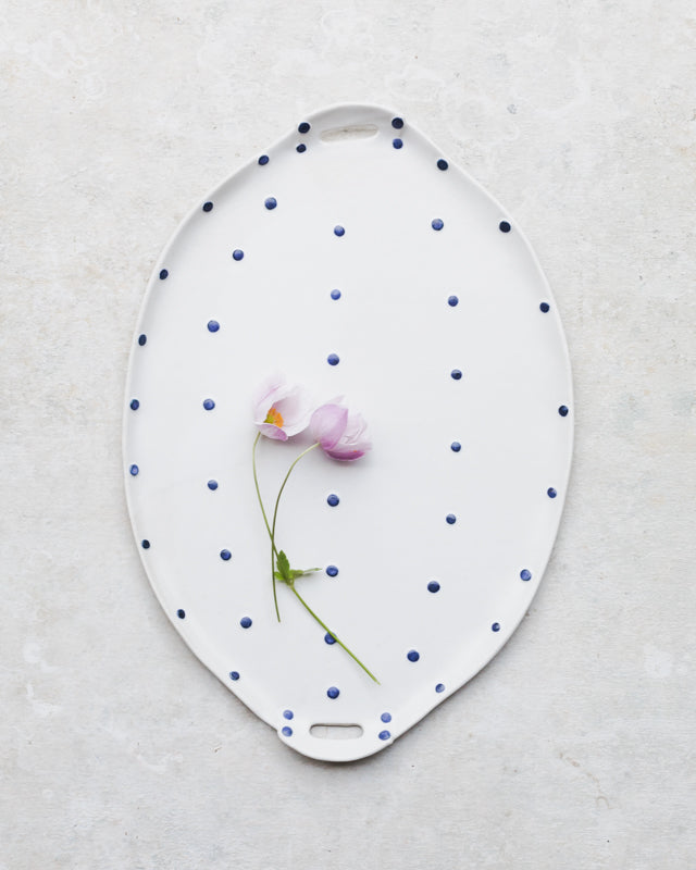Hand made blue and white spot ceramic platter with cut out handles Made to Order by Clay Beehive