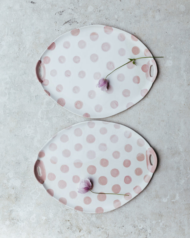 Pink polka dot handmade ceramic platter /cheese board with cut out handles by clay beehive