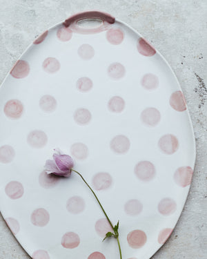 PRE-ORDER Polka dot Platters with side handles (Larger 40cm Length)