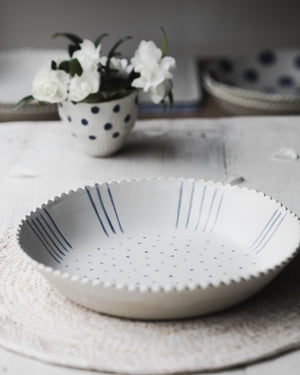 scallop rim large ceramic bowls in blue and white handmade by clay beehive