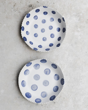 Scallop rim bowl with blue and white polka dot handmade by clay beehive