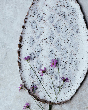 Scallop rim rustic irregular shaped oval plate by clay beehive