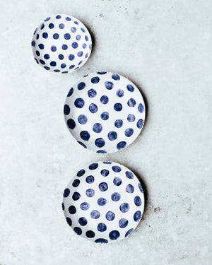 navy blue spot bowls hand made by clay beehive ceramics