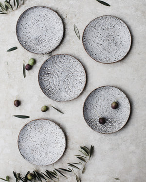 rustic speckled grey / white tapas hand made carved plates/bowls by clay beehive