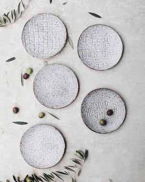 Gritty rustic speckled grey tapas plates /bowls hand made by clay beehive ceramics