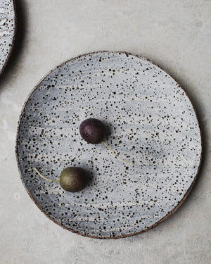 rustic gritty grey speckled tapas bowls / plates hand made by clay beehive ceramics