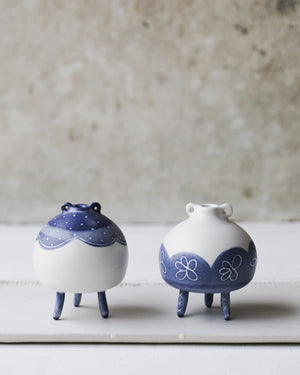Chubby cute little bud vases with feet and ears handmade by clay beehive ceramics