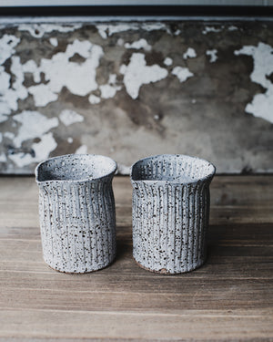 Hand made ceramic farmhouse pourers/jugs by clay beehive in rustic speckled finish