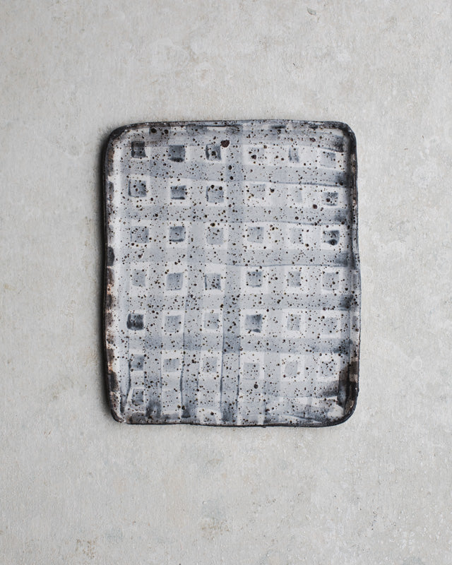 Rustic rectangle tray / plate with a vintage inspired pattern