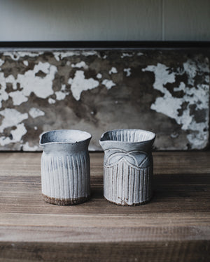 Hand made ceramic farmhouse pourers/jugs by clay beehive in rustic grey white matte glaze