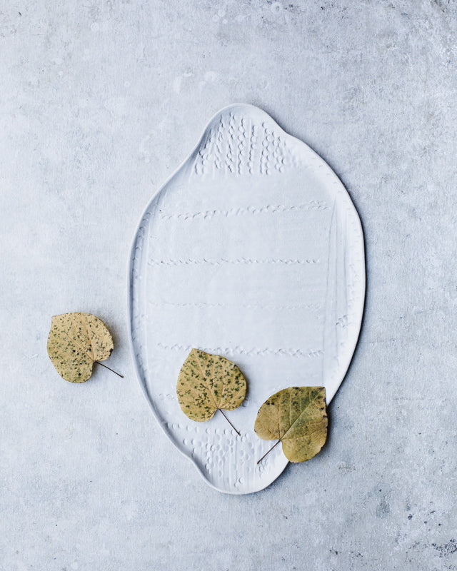 textured hand made ceramic platter white in satin white perfect cheese board by clay beehive ceramics
