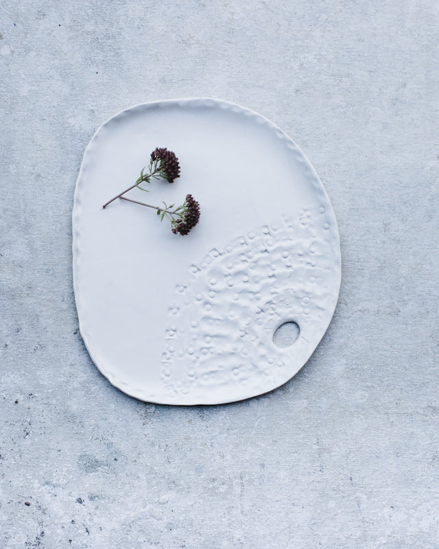 satin white hand made ceramic plate / small platter with texured surface by clay beehive ceramics