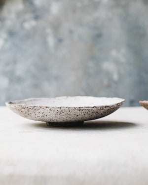 Footed Rustic speckled wabi bowls