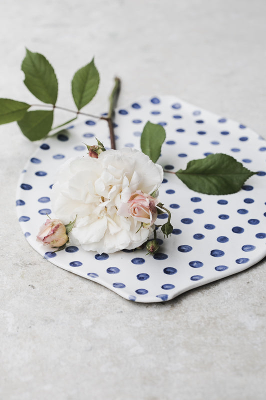 Blue polka dot cheese board / serving plate
