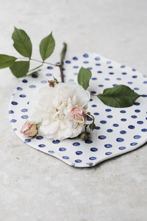 blue polka dot platter with easy grip handles by clay beehive ceramics