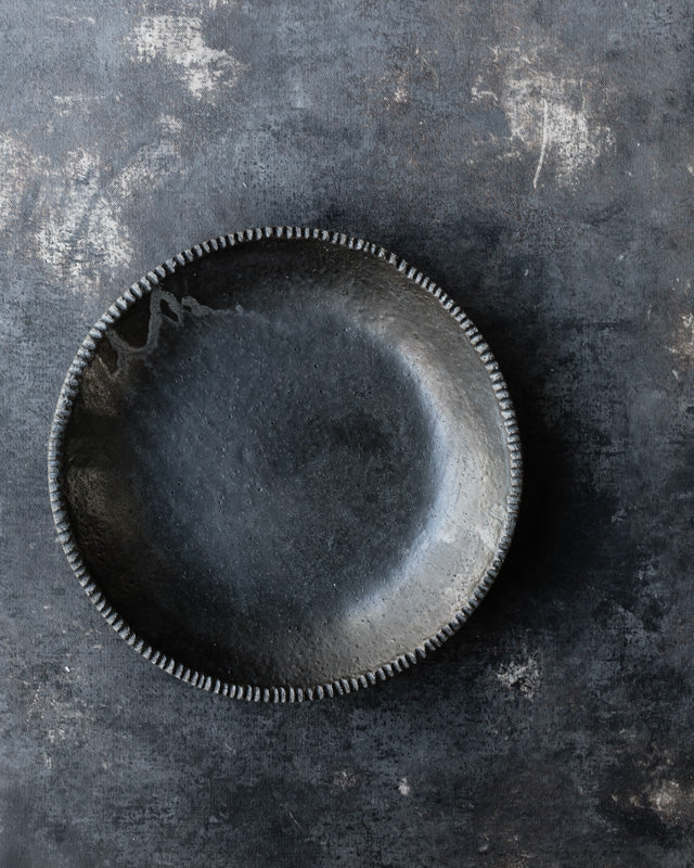 Black rustic bowl matte glazing with a gritty clay body by clay beehive ceramics