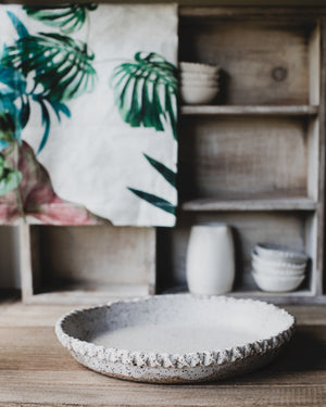 ceramic pie dish suitable to bake in created with gritty clay body by clay beehive ceramic