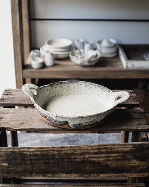 ceramic baking dish rustic character with gritty clay and satin white finish by clay beehive ceramic