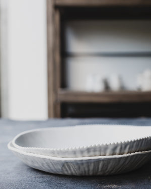 Satin white ceramic bowls wide perfect for pasta and salads by clay beehive