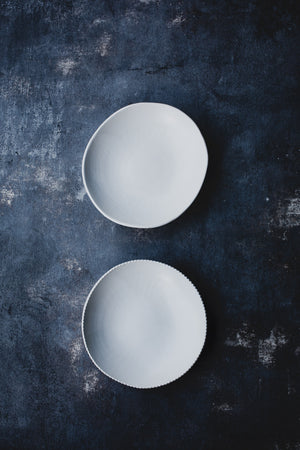 satin white ceramic bowl for foodies and food photographers by clay beehive ceramics