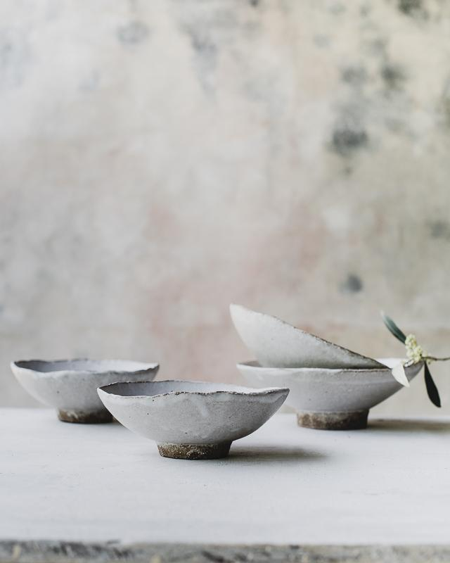 noodle bowls handmade in dark stoneware matte white glaze by clay beehive