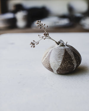 Seed pod bud vase in stoneware australian bush inspired ceramics by clay beehive