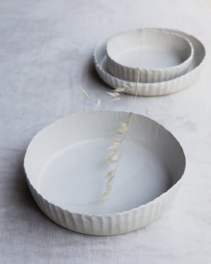 fluted textured hand made tall walled bowls in satin white by clay beehive ceramics