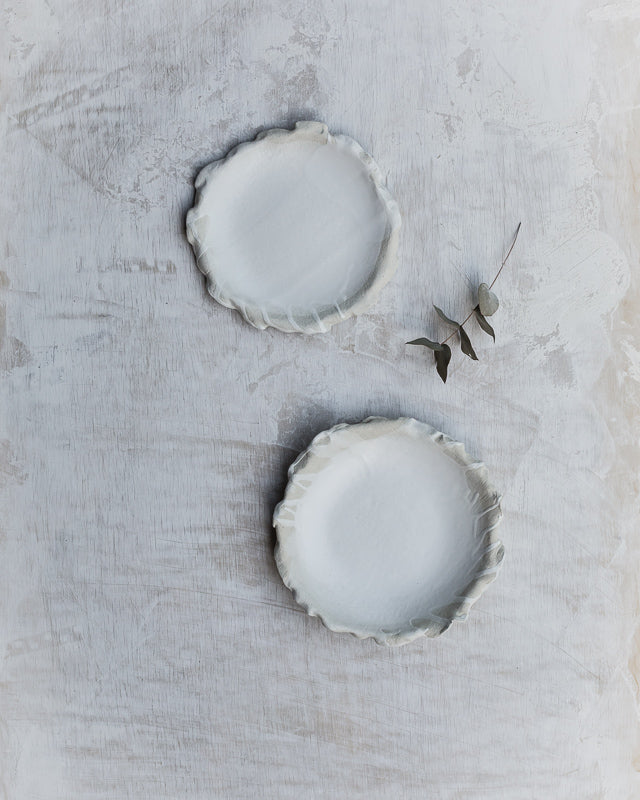 textured fabric ceramic bowls and plates hand made with frilly edges by clay beehive ceramic