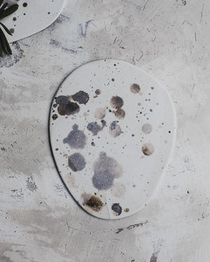 small platter plates or cheese board ceramic with speckles and splashes by clay beehive ceramics