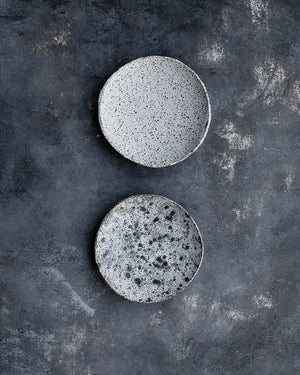 footed shallow gritty satin white speckled ceramic bowls by clay beehive